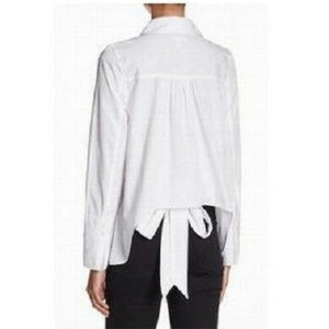 Abound Button-Down Tie-Back Collar Blouse Size L